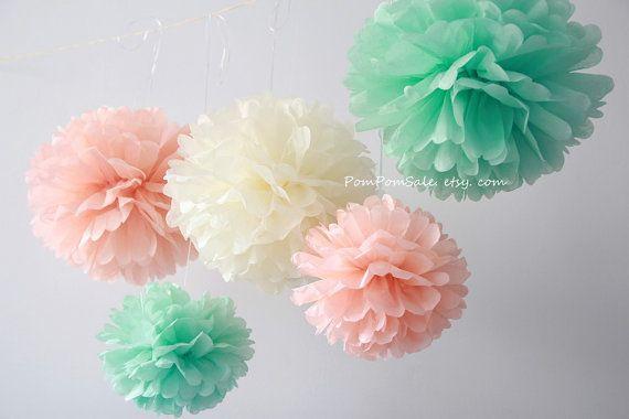 Wedding Peach papier de soie 12 pompons expédition par PomPomSale