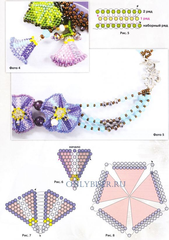 Necklace of beads Spring dreams scheme petals