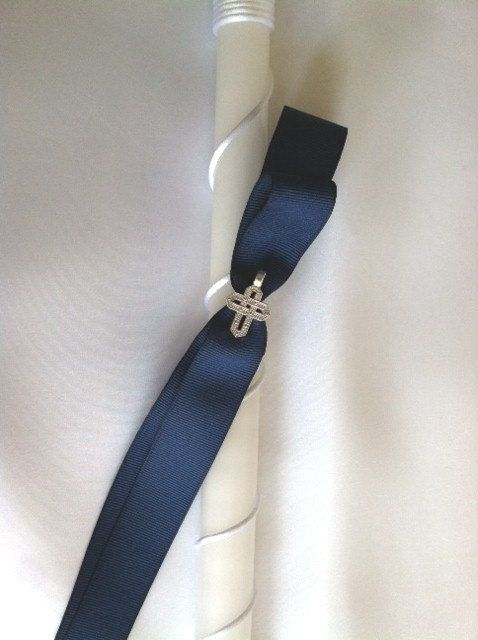 Boys Navy Cross Easter Candle/ Lambatha by MyLittleDetailsShop, $18.00 at Greek Wedding Shop ~ http://www.greekweddingshop.com