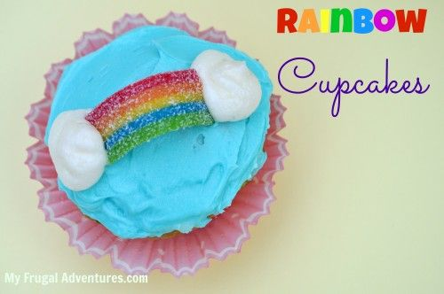 So easy and so cute for birthdays, class parties or St Patrick's Day! Over the rainbow cupcakes.