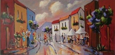 Street Scene With Cafe And Musicians  - Gericke Anton