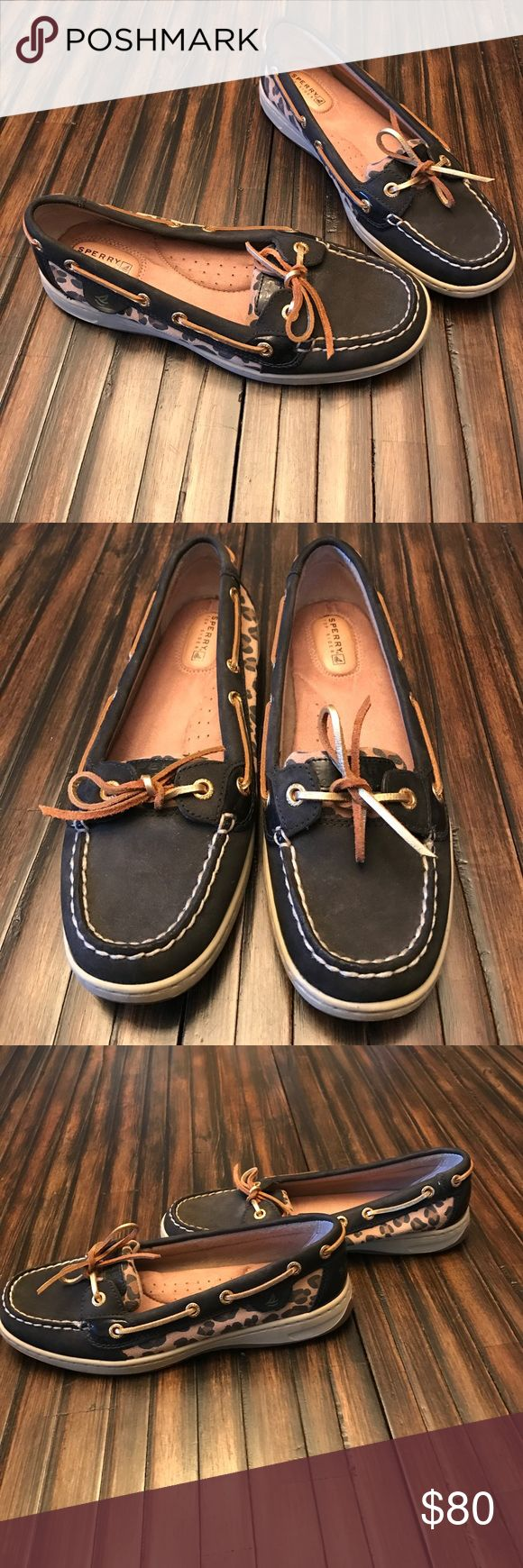 Black & Leopard Sperrys Black Sperrys with leopard on sides and tongue. Worn once for a few hours. Like new! Sperry Top-Sider Shoes