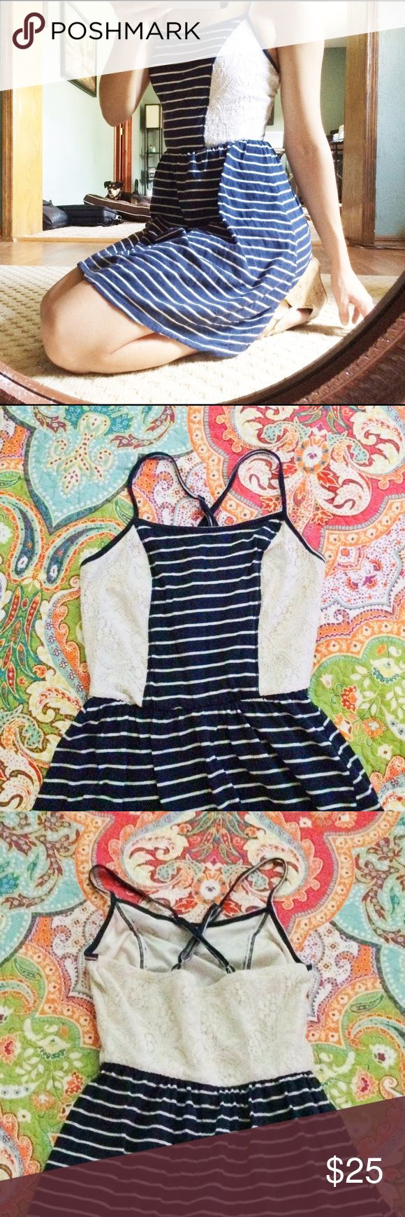 Nautical Navy and Cream Summer Dress Fully lined jersey and lace summer dress. Worn once, still in amazing, like-new condition. Adjustable straps. Make me an offer! Maurices Dresses Mini