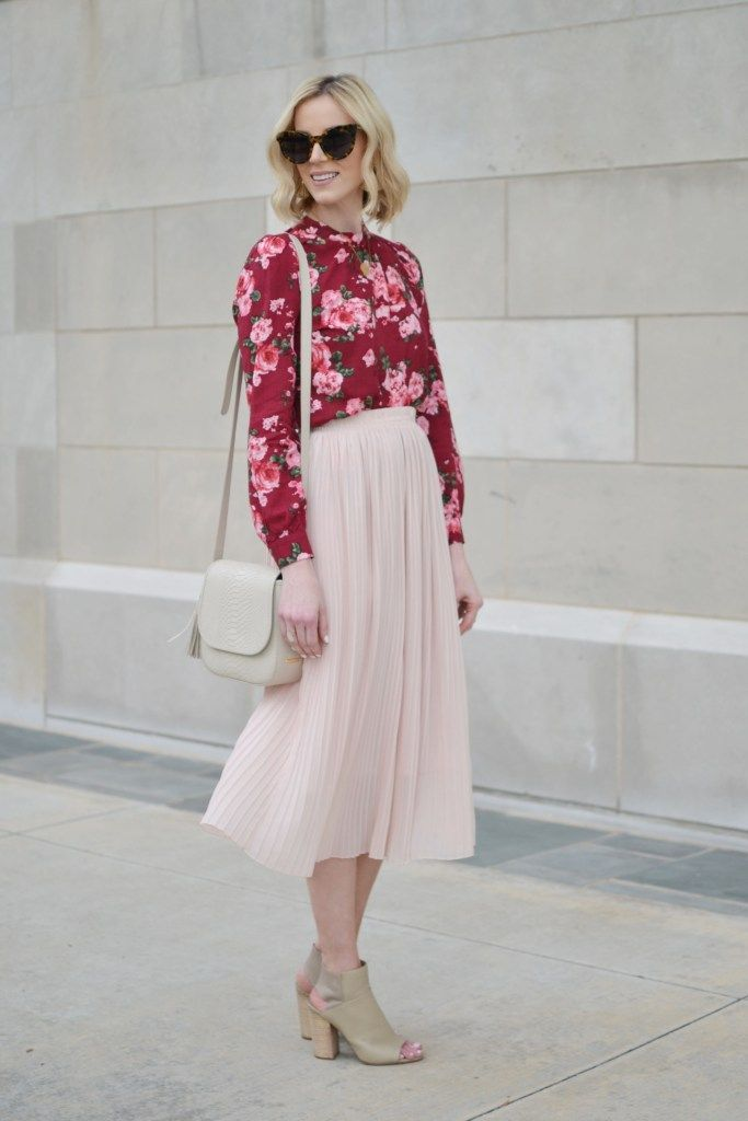 39c81530ca 4 Ways to Style a Pleated Blush Midi Skirt | Bloggers Over 40 ...