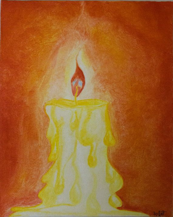 Oil Painting on Canvas  Candle Flame in hues of by RunePineStudio