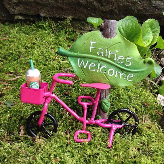 Miniature bike cruiser in pink for fairy garden