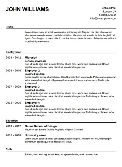 Resume Template Cv Free Template Microsoft Word Resume Format In