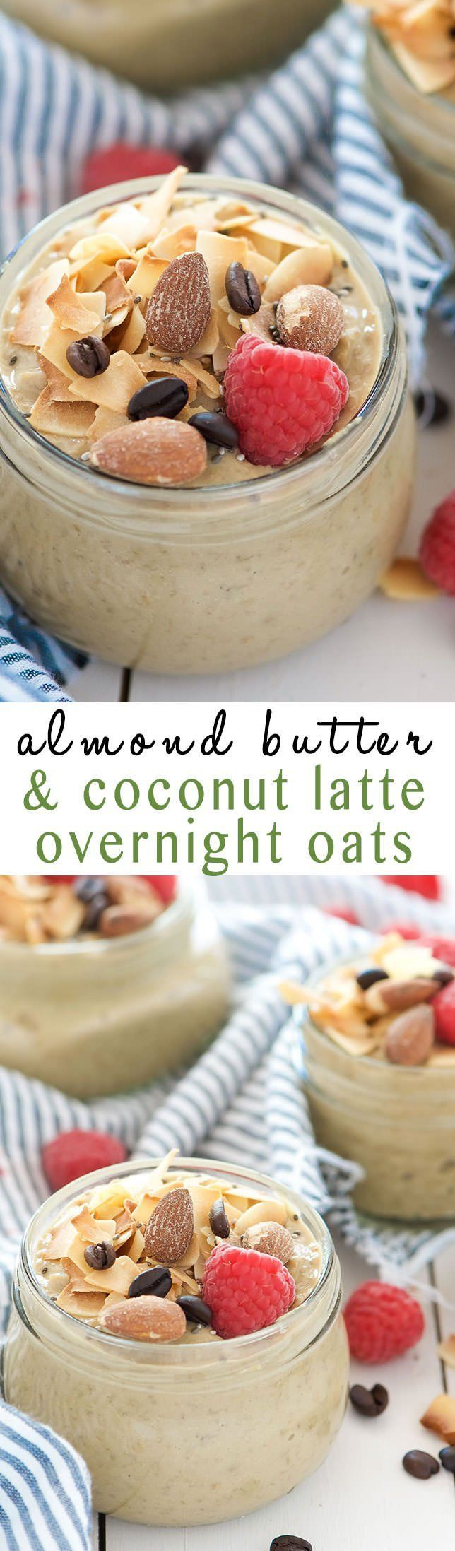 Almond, Coconut & Vanilla Latte Overnight Oats are worth getting out of bed for! Filled with dreamy vanilla almond butter, toasted coconut and coffee!