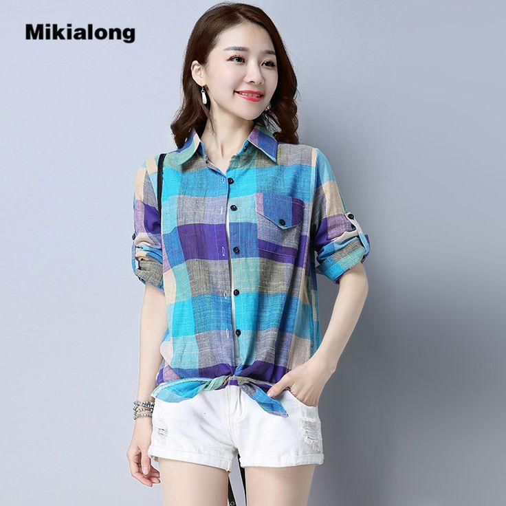 2017 New Summer Long Sleeve Women Blouses Vintage Blue Red Plaid Shirt Women Cotton Tops Linen Blouse Kimono Blusas Camisa Mujer