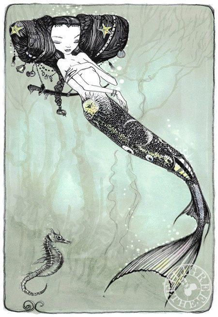 Art Print by Filigree on etsy Sleeping mermaid
