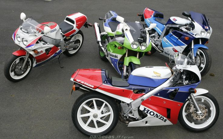 what we miss … race replicas Yamaha FZR750R OW01 ('89-'91), Kawasaki ZXR-750R ('91-'92), Suzuki GSX-R750RR ('89) & Honda VFR750R RC30 ('87-'91) normally I don't post road bikes, but when a picture like this emerges, I just need to unlike modern...