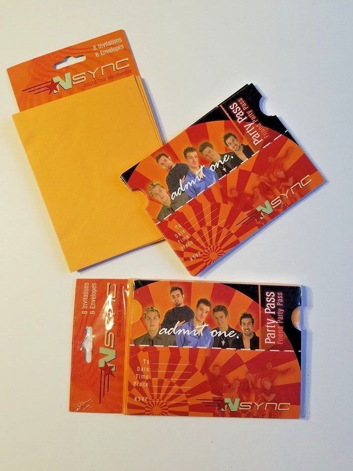 """Lot of 15 NSYNC themed """"Admit One"""" ticket stub party passes. One sealed set of 8 ticket and invitations. 