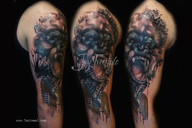 work in progress of a king kong sleeve watercolor tattoos pinterest sleeve king and king kong. Black Bedroom Furniture Sets. Home Design Ideas