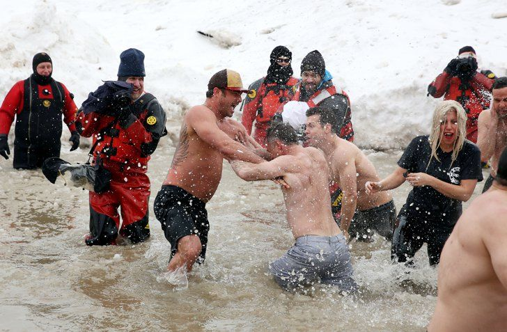 Pin for Later: You Have to See Lady Gaga and Shirtless Taylor Kinney Take the Polar Plunge