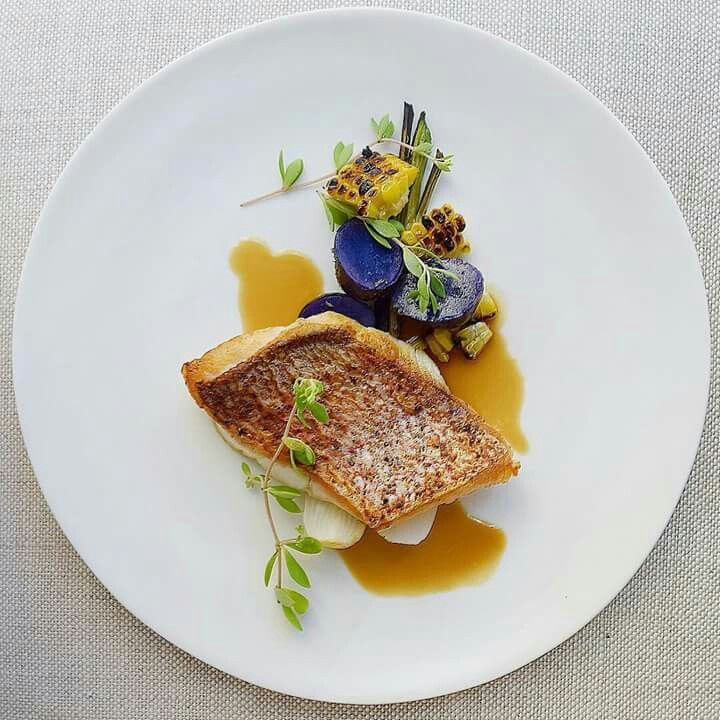 Crispy skin red snapper, purple potato, grilled corn, young spring onion, coconut ginger lemongrass dashi broth. By @gayleq #bestcheff