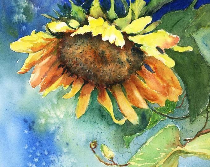 Sonnenblumen Aquarell Gemalt Karte Druckt Nur Etsy In 2020