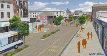 Eastbourne Town Centre Improvement Scheme - artist's impression showing Changes to Cornfield Road, including modern paving materials, new bus stops and soft landscaping. To be started September 2015 and completed December 2015.