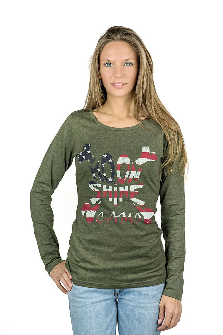 Moon Shine Camo | Women's Olive Army Long Sleeve Shirt - Moon Shine Camo
