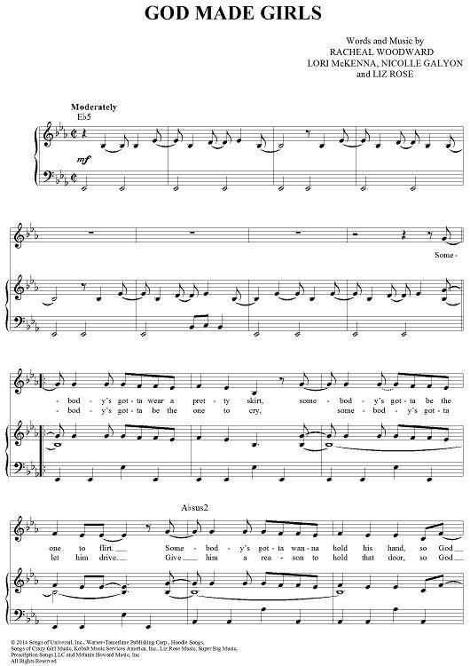 """God Made Girls"" Sheet Music by RaeLynn from OnlineSheetMusic.com"