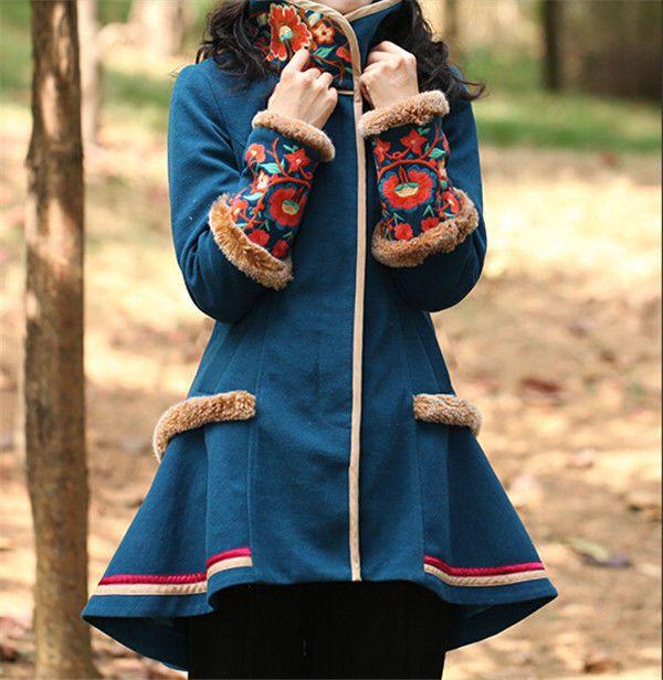 Folk Style Ethnic Trend Retro Blue-green Woolen Overcoat Free Shipping #Unbranded #BasicCoat