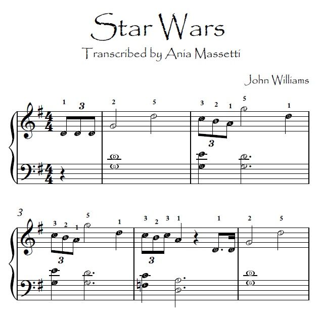 Star Wars John Williams Easy Piano Sheet Music With Letters