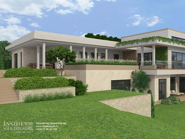 Загородный дом 843 m2.  Архитектурный проект Dolní Lomnice, Чехия. Архитектор Ирина Рихтер.