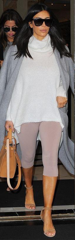Who made Kim Kardashian's gray coat, black sunglasses, beige handbag, nude leggings, and suede ankle sandals?
