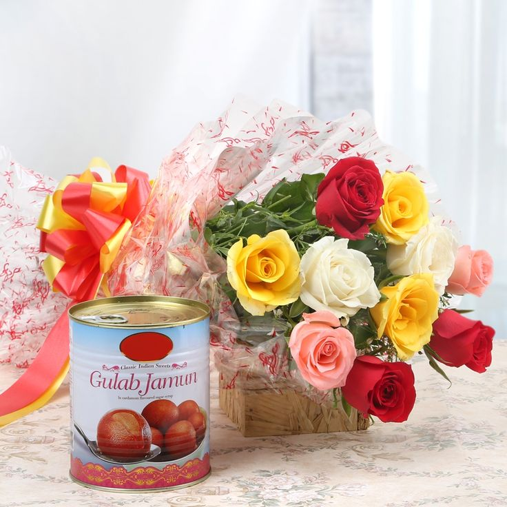 Check out our New Product  Opulent Fantasy Flower Combos Red Rose, Yellow Rose, White Rose, Pink Rose and Gulab Jamun Tin  Rs.951