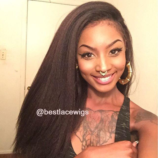 Kinky Straight Virgin Indian Hair Glueless Lace Front Wigs | www.BestLaceWigs.com