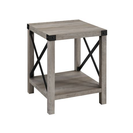 Manor Park Rustic Modern Farmhouse Side Table Multiple Finishes Grey Wash White Oak Side Table Accent Side Table Oak Side Table