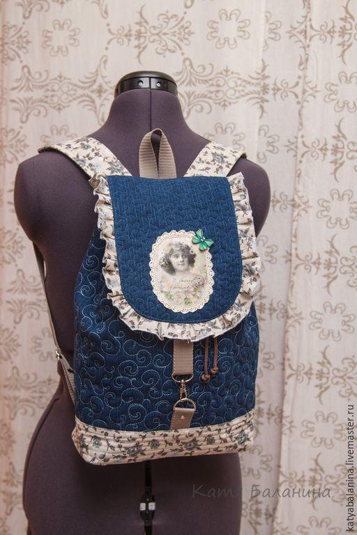 Купить Школьный джинсовый рюкзак Винтаж в горошек - тёмно-синий, рисунок, рюкзак, школа, школьница