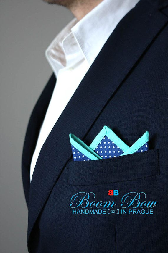 Pocket Square 16 Cotton blue polka dot and turquoise by BoomBowTie