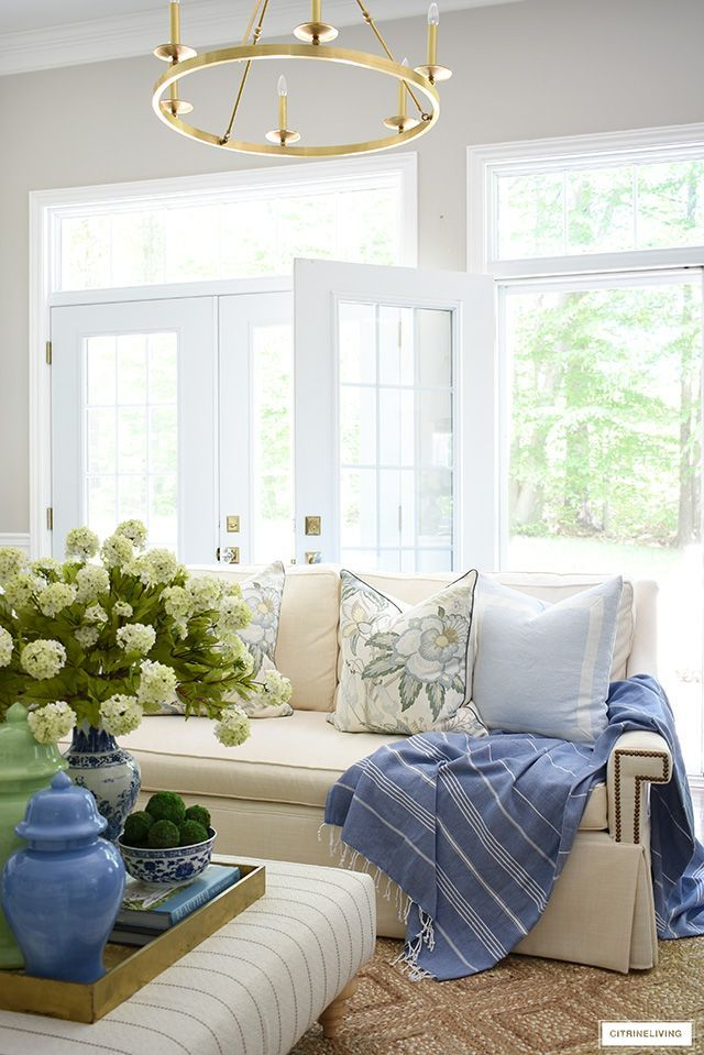 Home Decor Advice Summer Decorated Living Room White Sofa Beautiful Floral Pillows Blue And G Blue And Green Living Room Living Room White Summer Living Room Summer living room decorating ideas