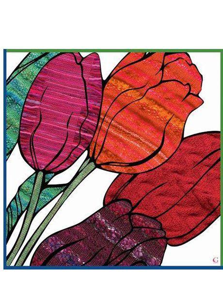 Bright as a Spring Garden Satin Silk Scarves in Floral Designs - Tulips by @CindyGoble designs 100% satin silk