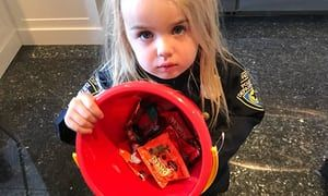President's son criticised for using three-year-old daughter to make political point as users say trick-or-treat analogy is way off the mark