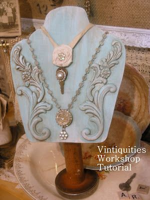 SO BEAUTIFULLY DECORATIVE, even without jewelry displayed!   Great for showing off your latest project, or newest found treasures!   Vintiquities Workshop: Necklace Display Tutorial...