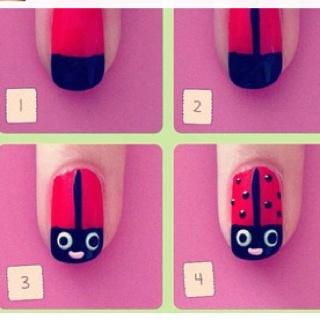 Ladybug nails: Nail Art Tutorials, Nails Art Tutorials, Awesome Nails, Makeup, Ladybug Nails, Ladybugs Nails Art, Diy Nails, Nails Designs, Nails Tutorials