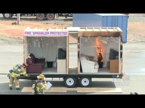 Side by Side Burn - Home Fire Sprinkler System Home fire sprinklers, combined with smoke alarms, cut the risk of dying in a home fire by 82% compared to having neither. Watch a side-by-side demonstration of 2 fires.