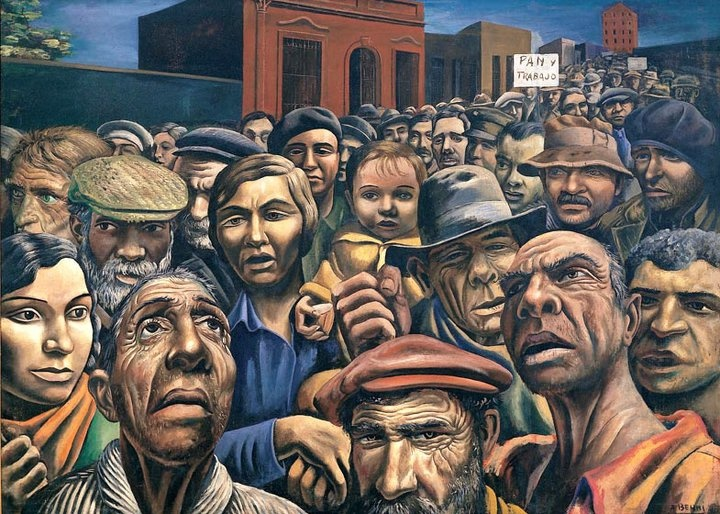 """Manifestación (1934). In the early 1930s, the Argentine artist Antonio Berni banded together with other young artists to start the Nuevo realismo, or """"New Realism,"""" movement, dedicated to highlighting the social injustice, class struggle, and political division that he experienced in his native Argentina"""