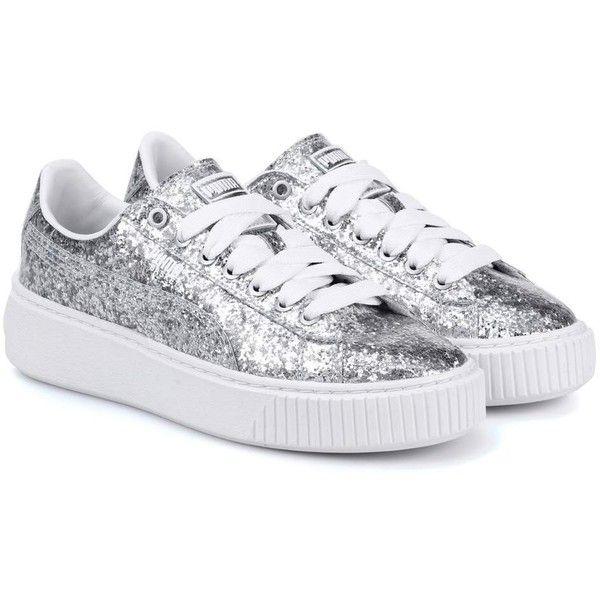 Puma Basket Platform Glitter Sneakers ($140) ❤ liked on ...