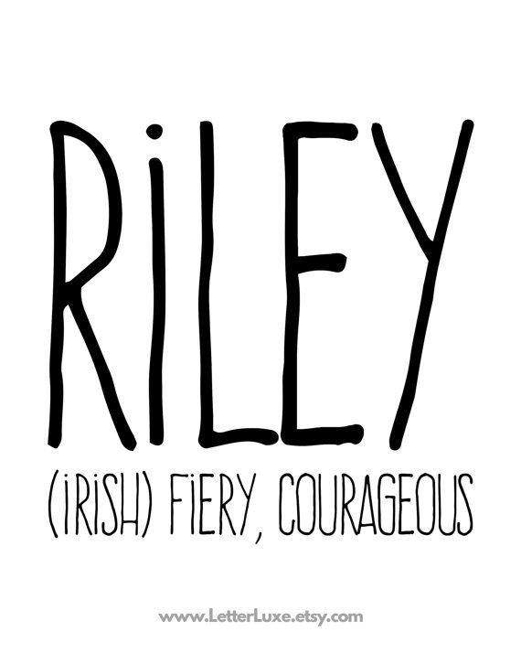 Riley Name Meaning Printable Nursery Art Baby by LetterLuxe