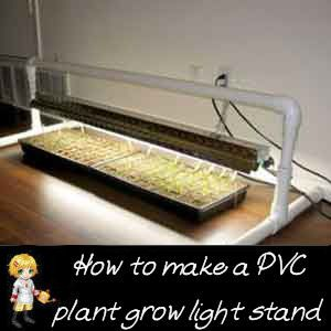 DIY PVC Plant Grow Light Stand -  http://thegardeningcook.com/diy-pvc-plant-grow-light-stand/