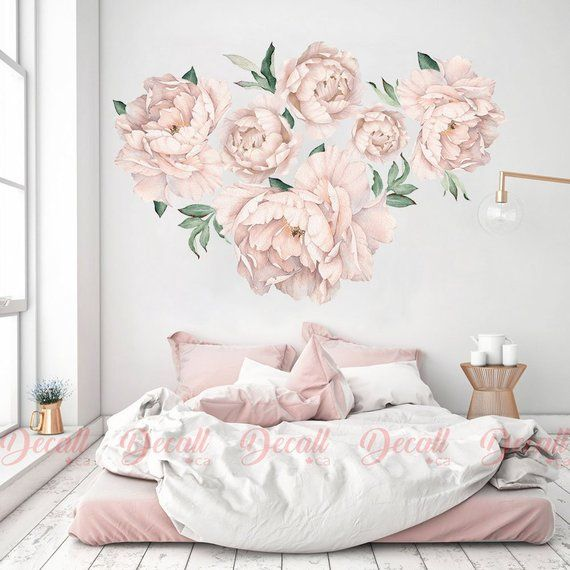 Nursery Peony Flower Wall Stickers Watercolour Peel And Stick
