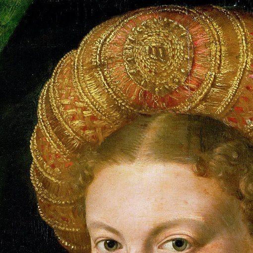 Parmigianino: Ritratto di giovane donna. Olio su tavola di pioppo, del 1530. Kunsthinstorisches Museum, Vienna. L'attenzione del pittore si è concentrata più sulla realizzazione del bellissimo cercine che sui capelli della giovane donna: in oro e arancio chiaro, è uno stupendo tessuto ricamato probabilmente con fili di seta a fasce alternate.