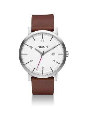 NIXON Rollo Leather Strap Watch. #nixon #watch