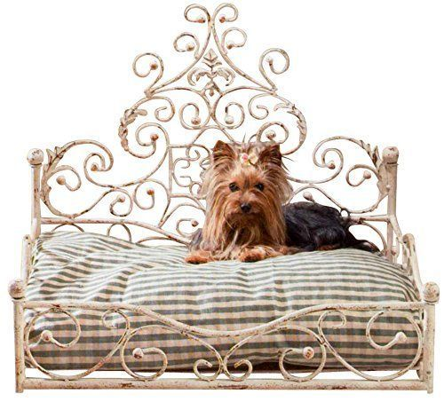 French Iron WHITE SCROLL Dog Pet Cat Bed Victorian Antique Fleur de Lis European by Intelligent Design >>> You can get additional details at the image link.