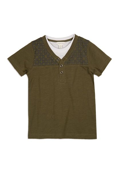 Pumpkin Patch - tees - henley mock short sleeve tee - S4BY11012 - winter moss - 5 to 14