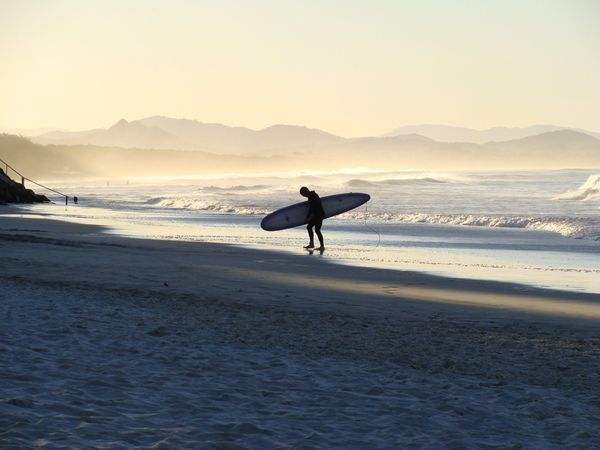 Photograph by Elena Martinello, Your Shot - Byron Bay, Australia: Nothing is better than surfing at sunset