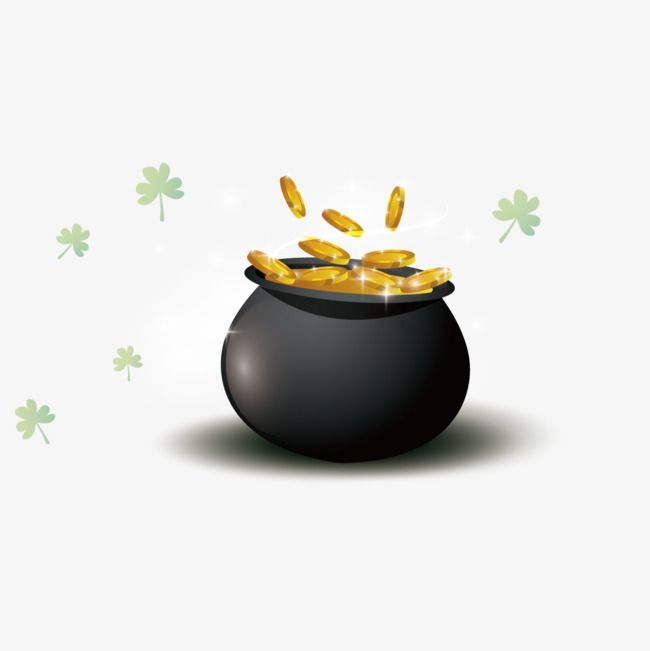 Vector Pot Of Gold Coins Gold Vector Jar Black Png Transparent Clipart Image And Psd File For Free Download Pot Of Gold Gold Coins Jar