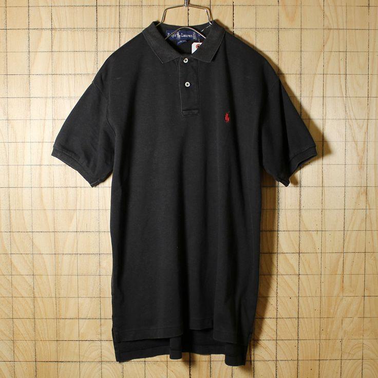 Ralph Lauren/古着/ブラック/コットン100%ワンポイントポロシャツ/メンズL